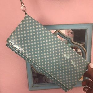 Handbags - Blue Polka Dot Clutch/ Wristlet